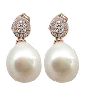 Rose Gold White Pearl Drop Earrings with Swarovski Crystal