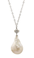 White Baroque Pearl Pendant on Silver Chain Necklace
