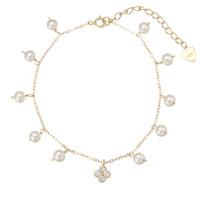 White Pearl Bracelet and Swarovski Flower Pendant