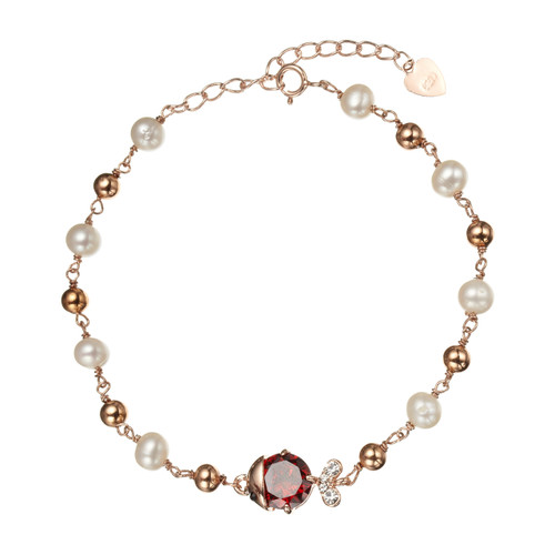 Ruby Fish Pearl Bracelet