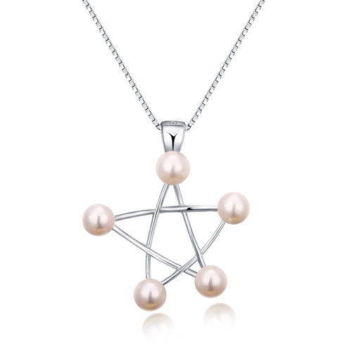 White Pearl Star Sterling Silver Pendant