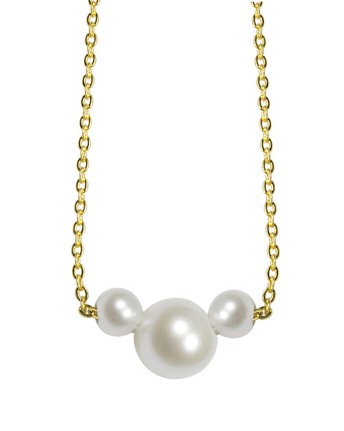 Cute Minnie Mouse Pearls Pendant Gold Necklace