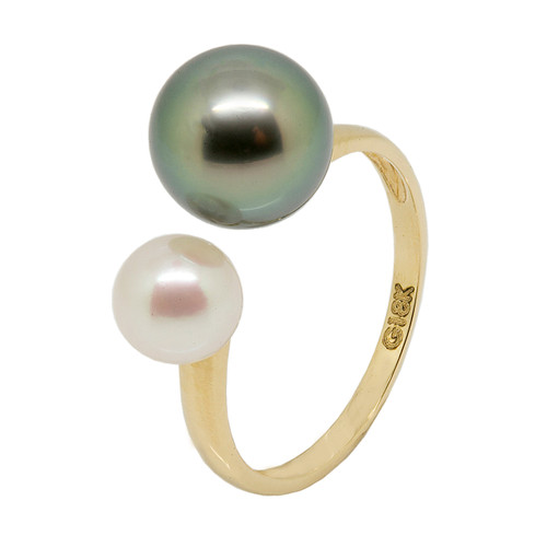 White Akoya and Black Tahitian Dual Pearls 18ct Yellow Gold Adjustable Ring (UK size L 1/2)