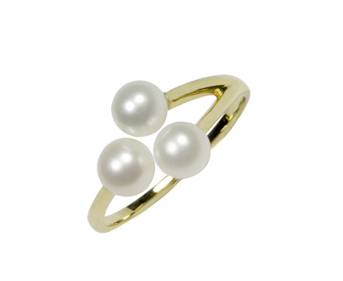 Three White Pearls 9ct Gold Adjustable Ring