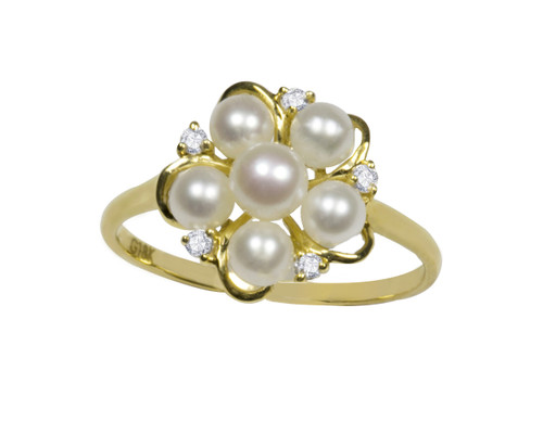 18ct Gold Flower White Pearl Ring