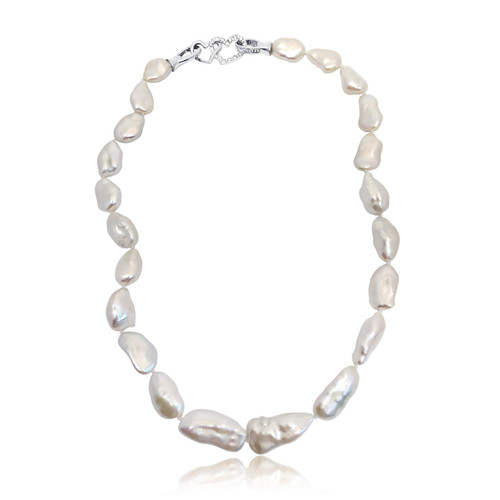 White Baroque Pearl Necklace with Silver Dual Heart Clasp