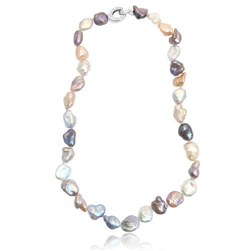 Multicolour Keshi Pearl Necklace with Sterling Silver Clasp