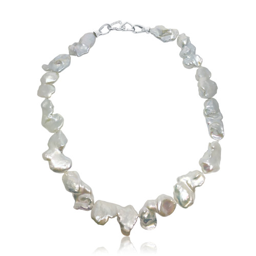 Giant White Baroque Pearl Necklace