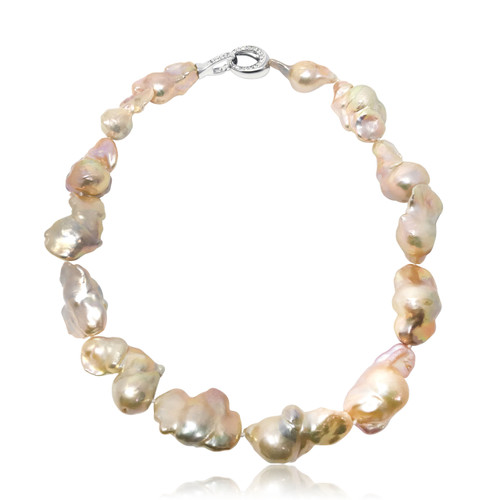 Giant Pink Baroque Pearl Necklace
