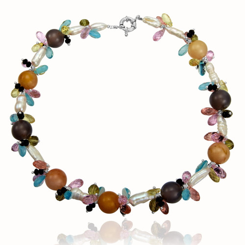 Keishi Pearls Necklace with Agate Balls and Faceted Crystals