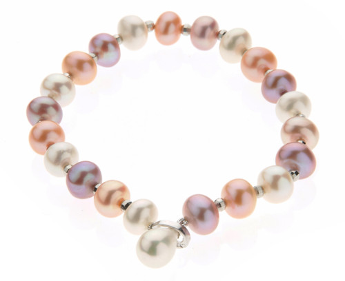 Multicolour Pearls & Silver Beads Bracelet