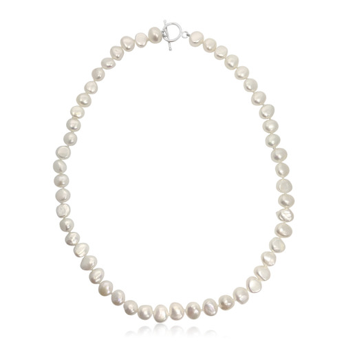 White Baroque Pearl Necklace with Silver T-bar Clasp