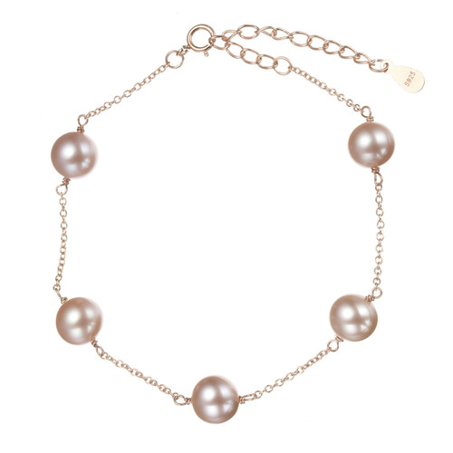 Lilac Round Pearl Bracelet