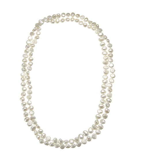 White Baroque Pearl Long Necklace