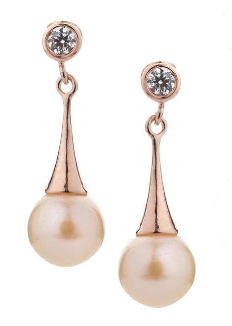 Pink Pearl Drop Earrings in Rose Gold
