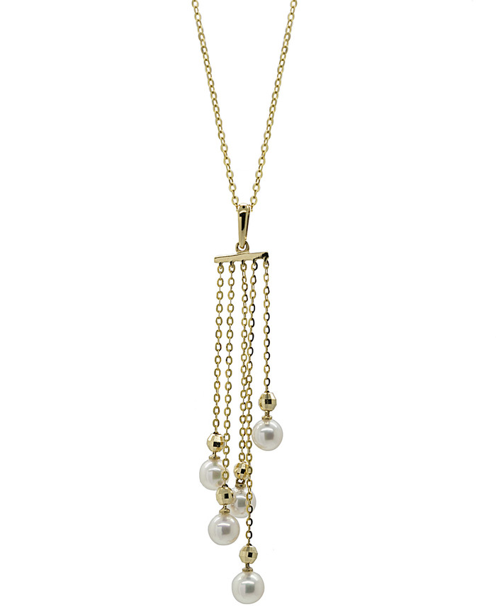 18ct Gold Tassel White Pearls Drop Pendant Necklace