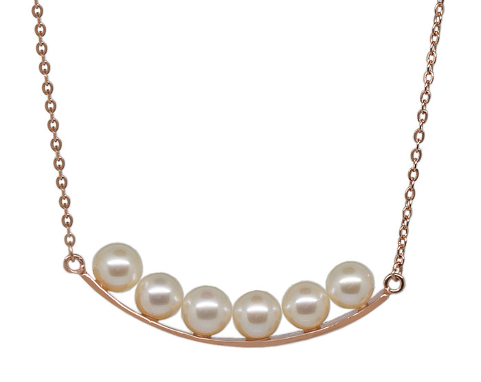 Smiley Pearls Rose Gold Pendant Necklace