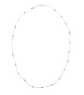 White Pearls in Rose Gold Chain Long Necklace