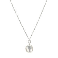 Irregular White Pearl Pendant on Sterling Silver Chain