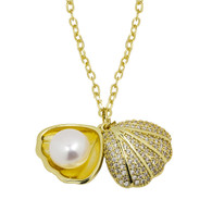 White Pearl in Shell Pendant Chain Necklace