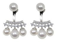 Cluster White Pearl Drop Earrings