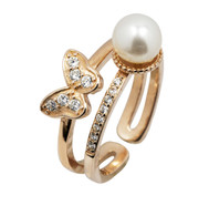 Rose Gold Pearl and Butterfly Ring