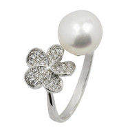 White Pearl Sterling Silver Flower Adjustable Ring