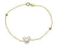 Minnie Mouse Pearls Bracelet Gold Bracelet