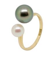 White Akoya and Black Tahiti Dual Pearls 18ct Gold Adjustable Ring