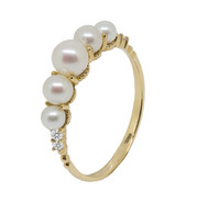 18ct Gold Five Cultured Pearl Ring (SIZE M 1/2)