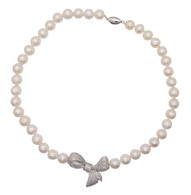 White Pearl Necklace with Bow