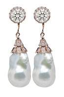 Rose Gold Irregular Pearl Drop Earrings with Swarovski Crystal