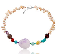 Amethyst, Agates, Turquoise and Pearls Necklace