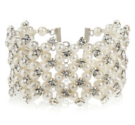 Multi-strand Ivory Pearls and Diamante Bridal Cuff