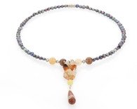 Peacock Black Pearls & Carnelian Dropping Necklace