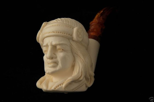 Big Chief Hand Carved Deluxe Block Meerschaum Pipe by E Cevher 6060 in fit case