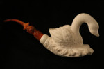 Swan Hand Carved Block Meerschaum Pipe by I. Baglan in a fit case 7734