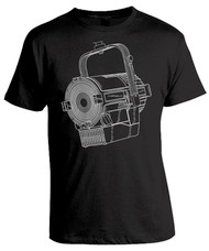 Blueprint line art of a theatre stage lamp spotlight. Graphic tee for stage techs and lighting designers.