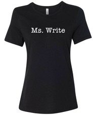 Ms. Write punny funny typography tee.