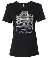 William Shakespeare's Swan Theatre illustration on graphic t-shirt