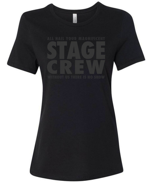 Stage crew black show t-shirt for theatre techs.