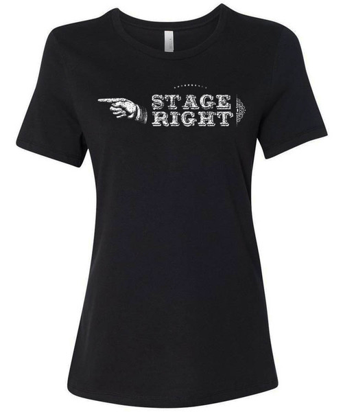 Stage right - pythonesque pointing hand, old timey actor actress t-shirt
