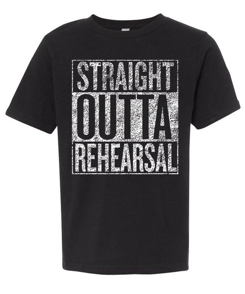 Straight Outta Rehearsal - boys distressed typography graphic tee.