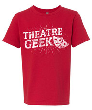 Theatre geek t-shirt - distressed print design with drama masks.