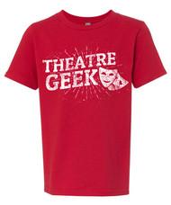 Theatre geek t-shirt - distressed print design with drama masks.