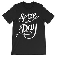 Seize the Day - script typography unisex newsies t-shirt