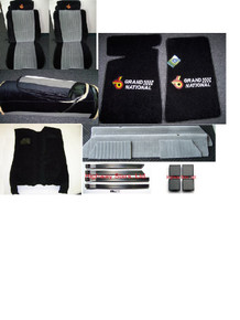 1986 1987 Grand National seat covers complete front and rear with embroidered headrests available through Highway Stars  SKU 729P1  with Mass Backed Carpet, door panels, door trim, screw covers and FREE 2 front floor mats with grand national embroidery