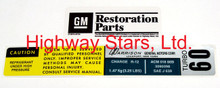 Highway Stars GM Licensed AC charging label # 3090098 for 1984-1987 Buick Grand National Turbo Regal