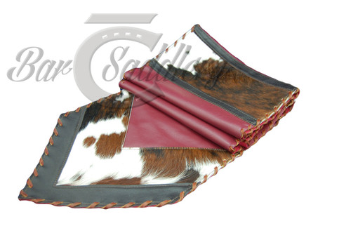 Genuine Leather Table Runner With Hair On Tri Colored Hide