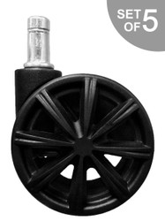 """2.5"""" Office Chair Caster Replacement with Spokes Style Flair - S4655"""